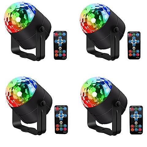 RGB Bühnenbeleuchtung, HimanJie 4 Stück Sound Aktiviert 7 Farbe LED Disco Ball Lampe, Bühne DJ Lights, Strobe Club Lichter Effekt Magic Portable Mini Led Bühnenbeleuchtung (mit Fernbedienung) …