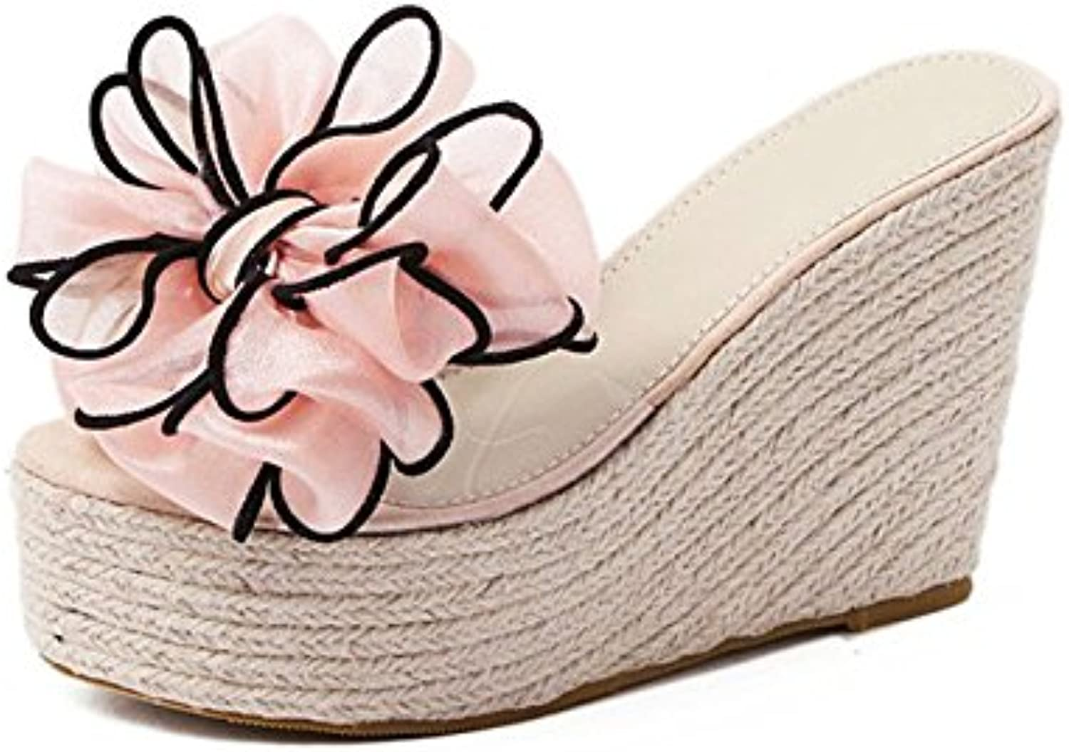 8952d3829dba AJUNR slippers New B07CTDZ8XD Fashion Work Ladies Pink Sponge cake straw  drag and drop the word 11cm with slope slippers Pink Outdoor Female.