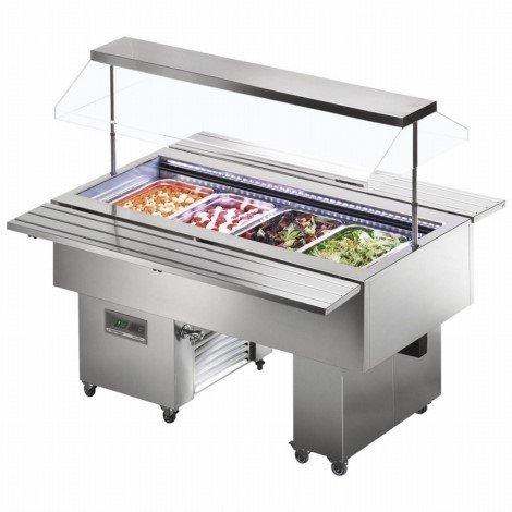 Tecfrigo Isola VT Gamma Fredda Espositore Da Buffet Refrigerate Espositore con Acciaio Inox 1520(H)x1505(L)x750(D) 4 x 1/1 Gastro Pentole Litro Ripiani -2 Anni Parti Garanzia Incluso