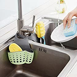 HOME CUBE® 1pc Adjustable Hanging Drain Bag Basket Bath Storage Gadget Tools Sink Holder For Kitchen - Random Color