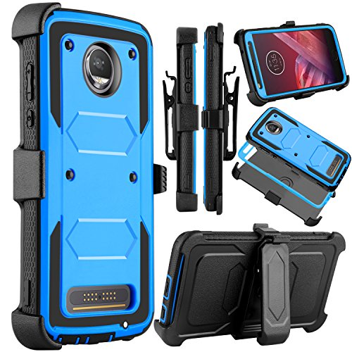 Moto Z2Force Fall, Moto Z2Play Schutzhülle, venoro Robuste Stoßfest Full Body Schutz Rugged Hybrid Case Cover mit drehbarem Gürtelclip und ausklappbarem Ständer für Motorola Z Force 2017, blau