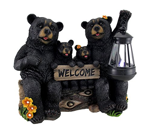 Beaming Bears Welcome Statue W/Solar LED Laterne (Laterne Eintrag)