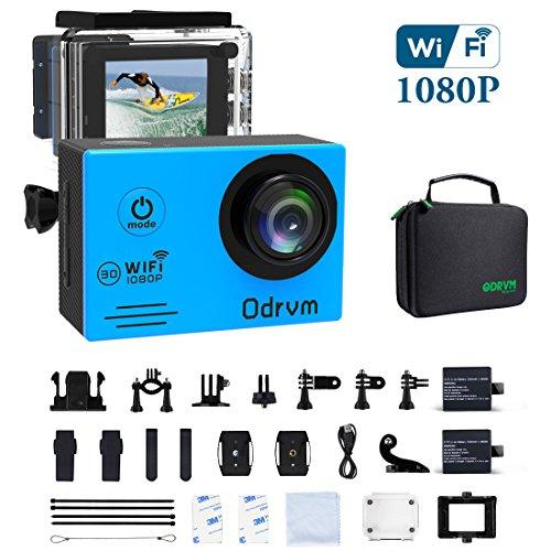WiFi Unterwasser Kamera Blau Action Sports Kamera Wasserdicht Camcorder Tauchen 30m HD 1080P Motorrad Helm Kamera mit 2Akku und gratis Zubehör für Radfahren, Skifahren, Motocross und Wasser Sport