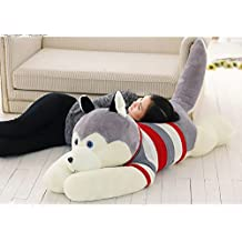 Chocozone Huge 85cm Husky Dog Soft Toy for Dog Lovers Birthday Gift Cushions for Kids (Multi Color)
