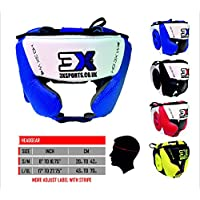 De boxeo Muay Thai Kick Boxing MMA artes marciales UFC Headgear formación Maya Ocultar Cuero Barra De Parrilla Protector De Cabeza Casco Cara Completa protección, azul