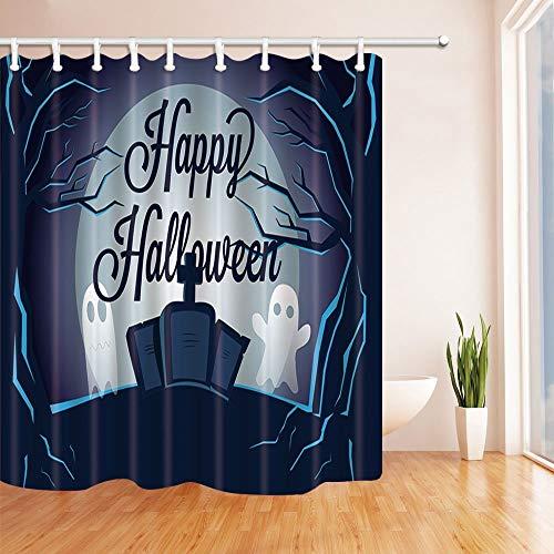 GAOFENFFR Happy Halloween Duschvorhänge für Bad Cartoon Geist auf Grabstein in Wald Bad Duschvorhang 180X180 cm