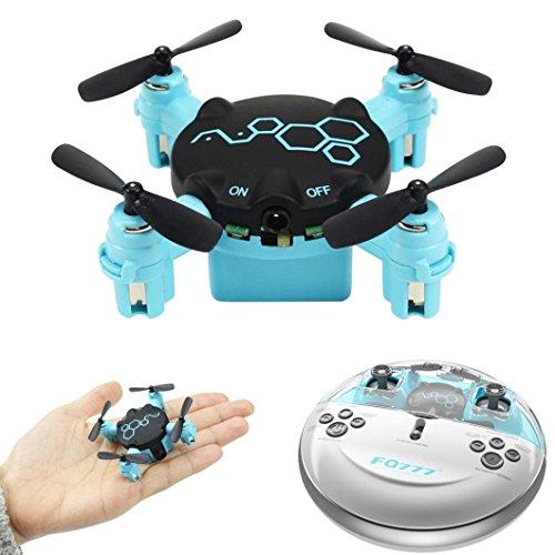 TPulling Intelligente Minifaltbare Tasche RC Drone  FQ777 FQ04 Käfer Mini Pocket Drone mit Kamera Headless Modus RC Quadcopter RTF (With 0.3MP Camera) (Blau)