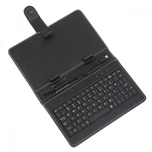 PTron Universal Leather Case Cover Stand USB Keyboard for All 7-inch Tablets