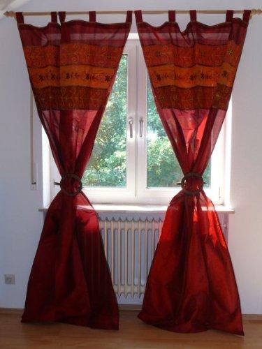 Marrakech Accessoires Orientalischer Vorhang Schlaufen Schal Bestickt 110 cm x 235 cm, Farbe rot (1 Stück)