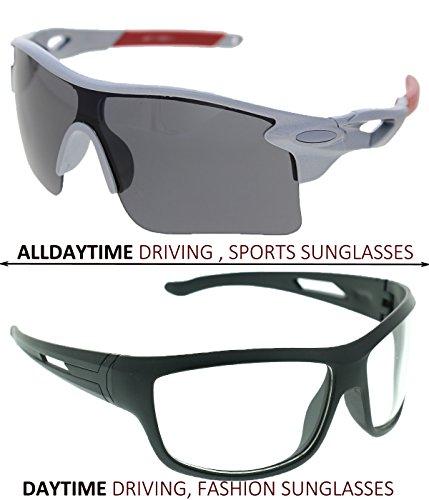 Vast Combo Of 2 All Day Vision Biking , Driving And Sports,Fashion Unisex Sunglasses (SILGREY,WHITE)