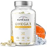 Omega-3 Huile de Poissons Sauvages 1500mg | Fish Oil 120 Gélules Concentrées Pures | EPA DHA Vitamine E | Capsules Licaps Haute Fraîcheur Odeur Douce | Pêche Durable | Fabriqué en France | Nutri&Co®