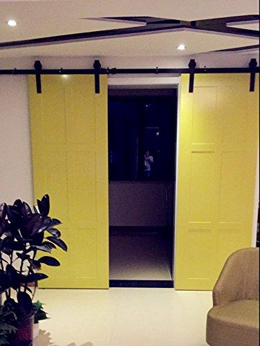 Anhänger-montage-kit (hahaemall Rustikal Country Barn Holz Stahl Schiebetür Double Door Hardware Track Roller Closet Kit mit Soft Close Set 2,3m)