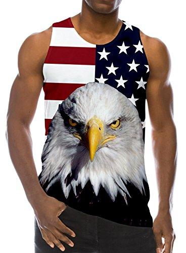 RAISEVERN 3D Flag Eagle Print Lustige Muster Realistische Underwaist Gym Tank Tops für Herren XX-Large