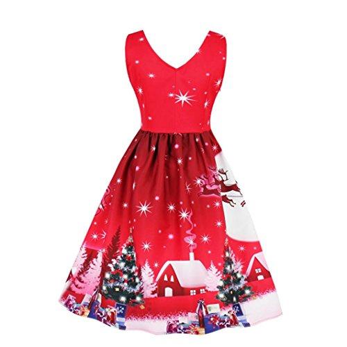 age Ärmellos V-Ausschnitt Weihnachten Party kleid Santa Claus Print A-Line Spitze Swing Kleid Weihnachtskostüm Plus Size (XL,A-Rot) (Sexy Weihnachtskostüme Für Frauen)