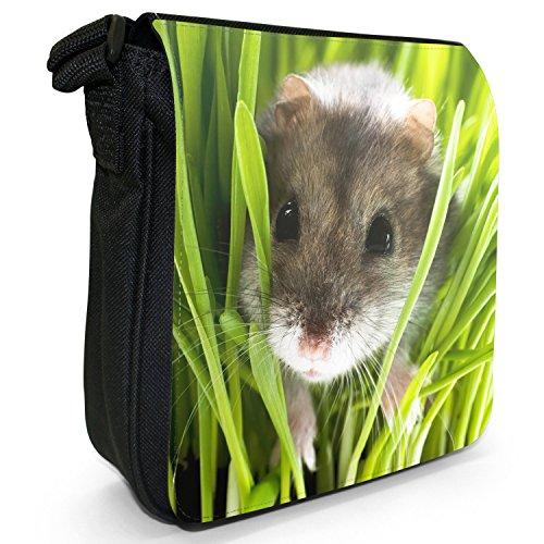 Hamster Piccolo Nero Tela Borsa a tracolla, taglia S Hamster In Grass