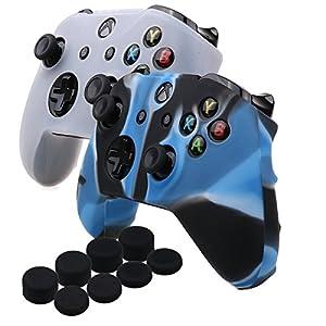YoRHa Silikon Hülle Abdeckungs Haut Kasten für Microsoft Xbox One X & Xbox One S controller x 2 (Camouflage Blau&Weiß) Mit PRO aufsätze thumb grips x 8