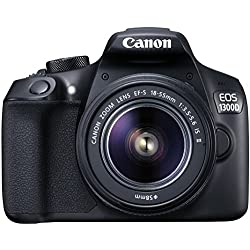 Canon EOS 1300D 18MP Digital SLR Camera (Black) + 18-55mm ISII Lens + 16GB Card + Carry Case + Motorola Pulse Escape Wireless Bluetooth Over-Ear Headphones
