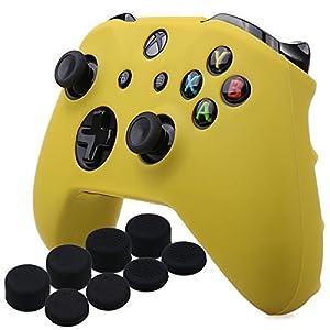 YoRHa Silikon Hülle Abdeckungs Haut Kasten für Microsoft Xbox One X & Xbox One S Controller x 1 (Gelb) Mit Pro aufsätze thumb grips x 8