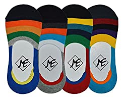 Me Stores Men's Loafer Socks Solid Socks with Silicon Support (Pack Of 4) (Multi-Coloured)