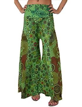 Skirts 'N Scarves, pantaloni lunghi a gamba larga da donna, in cotone stampato, a fantasia