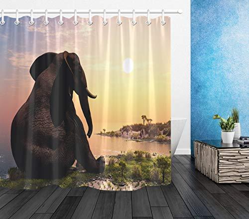 ang Tier sitzt am Meer Gemustert Polyester Stoff Extra lang Badevorhänge Wasserdicht antischimmel Badezimmer Dekor Heimzubehör mit Vorhanghaken,180X200 cm ()