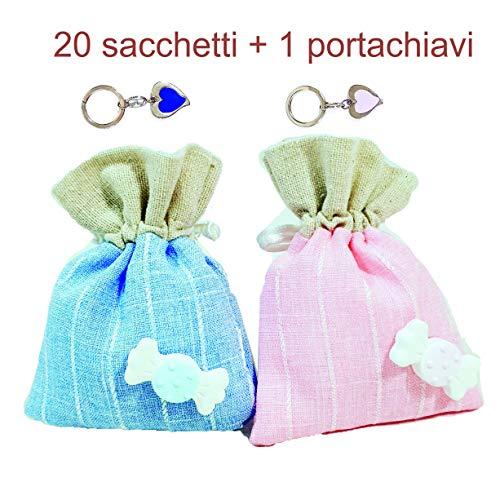 Sindy bomboniere 20 sacchetti nascita battesimo bambini con caramella gessetto + 1 portachiavi (20 sacchetti bimba + 1 portachiavi + confetti)