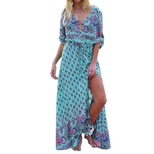 Maxikleid Strandkleider Damen Kleid Beach Party Dress Langarm V-Ausschnitt Partykleid Elegant...