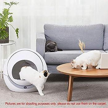 ZCY Rond Chat Maison De Toilette, Résine PP Bac À Litiére pour Chat avec Affichage Électronique, Toilette Grasse De Chat, 58.7x53.7x35CM