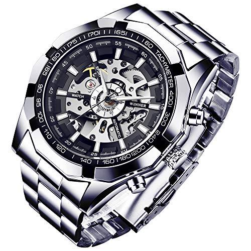 Reloj de pulsera para hombre, de la marca GuTe, con esqueleto descubierto, en color plateado y negro