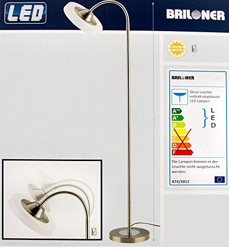 Briloner LED Standleuchte mit flexiblem Arm [Energieklasse A+] Deckenfluter, Leselampe, Stehlampe, Leseleuchte