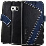 elephones Handy Hülle Samsung Galaxy S7 Edge Hülle mit Kartenfächer Standfunktion Geldscheinfach Magnetverschluss Handy Tasche Samsung Galaxy S7 Edge Schutzhülle Case Cover Schwarz - Blau