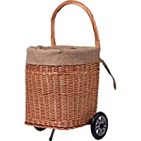 dobar Practical Fireplace Wood Wagon Peeled Willow Log Basket with Sturdy Plastic Wheels - Brown, 44 X 40 X 93 cm