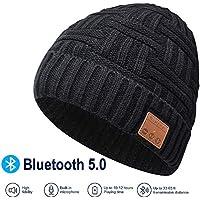 EVERSEE Bluetooth Beanie Hat, 5.0 Bluetooth Hat, Inalámbrico Auricular Gorro con estéreo HD y Mic Incorporado, Sombrero Lavable para Correr para Hombres Regalos, Hombres/Mujeres (Negro)