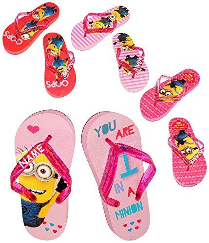 """Zehentrenner Sandalen - Gr. 33 / 34 - """" Minion - Ich einfach unverbesserlich """" - incl. Name - rutschfeste Schuhe Schuh / Badeschuhe mit Profilsohle - für Kinder - Mädchen / Hausschuhe Gartenschuhe - W"""