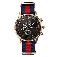 Souarts Unisex Quartz Analog Watch Blue Red Blue Nylon Black Dial Luminous Wrist Watch