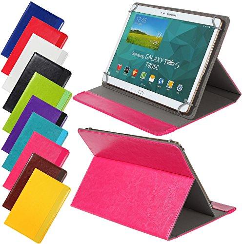 Universal elegante Kunstleder-Tasche für verschiedene Tablet Modelle (9 /10 /10.1 Zoll, Pink) Größe Schutz Case Hülle Cover, Neigungswinkel verstellbar, mit Gummibandverschluss in gleicher Farbe