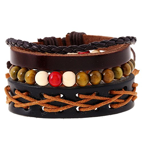 Fashion205 Fashion for sure Manufacturers selling European and American wind contracted braided leather bracelet with restoring ancient ways hand rope leather bracelet with multilayer suit bracelet (J100)