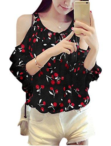 Femme Col Rond Cherry Impressions 3/4 Manches Décontracté T-shirt Noir
