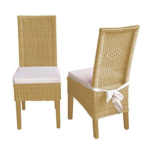 Pharao24 Rattanstuhl Set in Beige Esszimmer Stuhl-Eigenschaften Ohne Bezugstoff