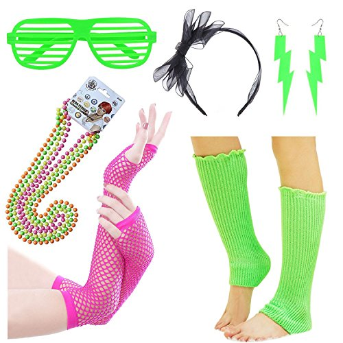 iLoveCos 80er Party Kleid Zubehör Stirnband,Beinwärmer,Fischnetz schwarze Handschuhe,Blitz Ohrringe,Fluoreszierende Perlen Halsketten ,Sonnenbrille 1980s Fancy Dress für Mädchen Frauen Night Out Party (1980 Halloween Kostüme Kinder Die)