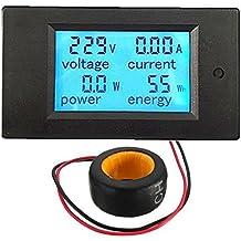 Buwico® AC 80–260V Energía Monitor de Azul Pantalla LED voltímetro digital Power Panel voltímetro digital voltímetro amperímetro con dos cables