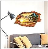 GOUZI Kreative Strand Kokospalme 3D-wasserdichten Plane 60 × 90 cm Wandaufkleber abnehmbare Wall Sticker für Schlafzimmer Wohnzimmer Hintergrund Wand Bad Studie Friseur