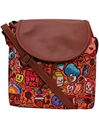 Amit Bags Beautiful Printed Poly Canvas With PU Flap Slingbag For Girls And Women ( Multi Colour)