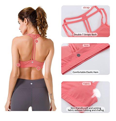 Queenie Ke Damen Yoga Sport BH Gepolstert T-Rücken Rosa