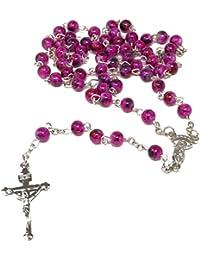 e8517629af8 Púrpura Oscuro Estilo De Mármol Perlas De Vidrio De 6 Mm Rosario Perlas  Collar De Plata