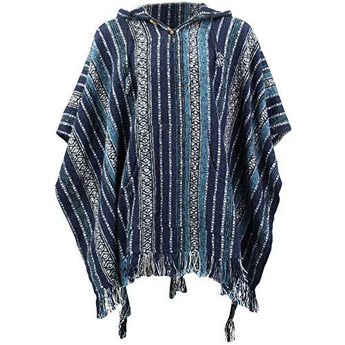 Loud Ponchos Hippie - Poncho con Capucha Estilo Mexicano, algodón GHE