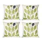 Top finel hojas algodón lino fundas de cojín almohada cuadrado decorativa para sofás Juego de 4 45x45cm Verde agua