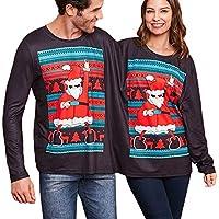 LILICAT☃ Pareja Navidad Patrón de Navidad Suéter Siamés Top Traviesa Doble Sudadera de Navidad Sudadera Doble Top Blusa de Navidad de Santa Tops
