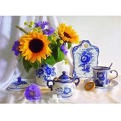 24x 34cm 5D DIY Diamond Painting'Girasoli & blu e bianco porcellana da tavola' diamante ricamo a punto croce con teiera tazzine strass mosaico painting Home Decor