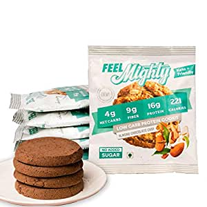 Feel Mighty Low Carb Protein Cookies- Sugar Free, Keto Friendly, Gluten Free Low Calorie Snack &- Pack of 5 Almond Chocolate Chip Flavoured Cookies